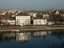 View of Rhein and Klein-Basel (with France in distant left, Germany in distant right) from terrace at Münster (Basel, Switzerla